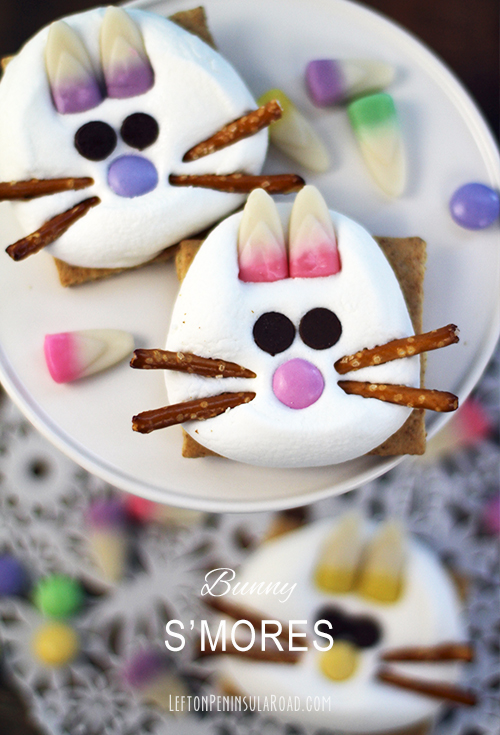 Pastel candy corn and pretzels make Bunny faces on Microwave S'mores for Easter.