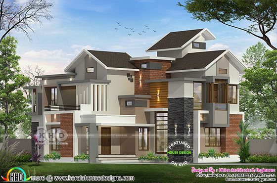 2950 sq-ft 4 BHK mixed roof Kerala home design