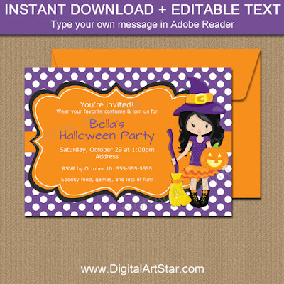 Girl Halloween party invite with witch