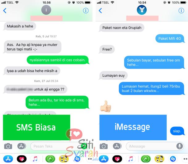 perbedaan iMessage dan Text Message di iPhone