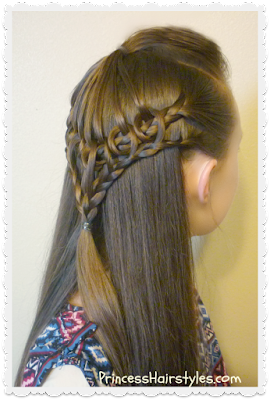 Knots and braids hairstyle, umbrella lace.