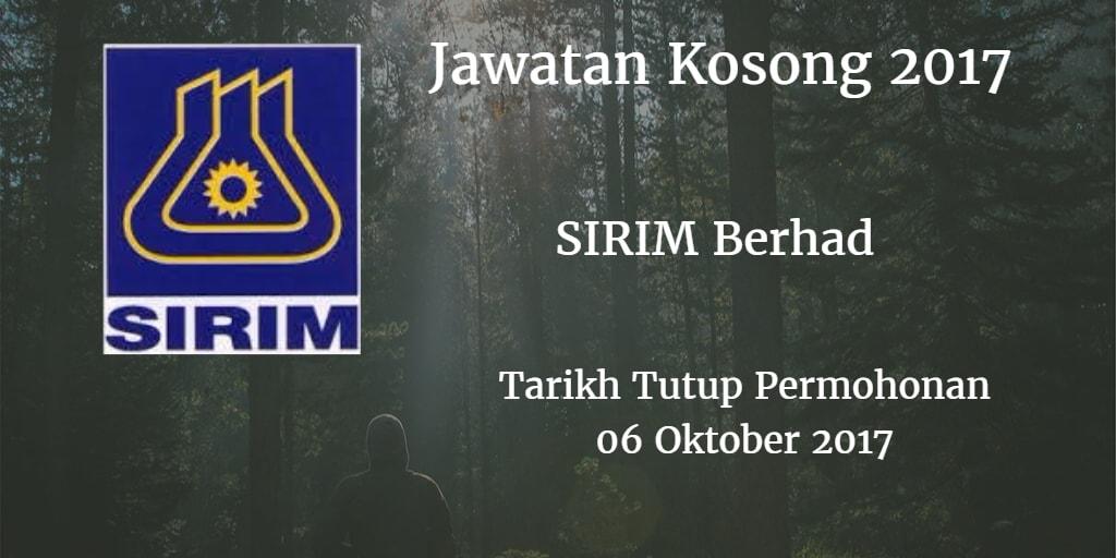 Jawatan Kosong SIRIM Berhad 06 Oktober 2017