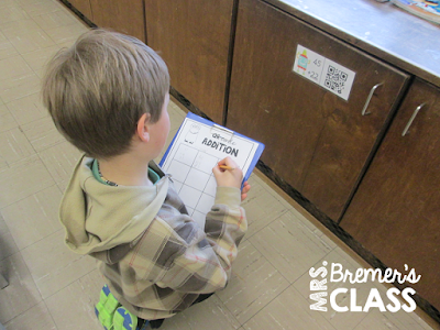 Incorporate technology into math! Students self-check their addition answers using QR codes. {A free download!}