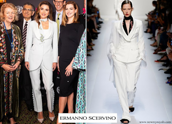 Queen Rania wore Ermanno Scervino jacket and trousers from Spring Summer 2018 Ready To-Wear Collection