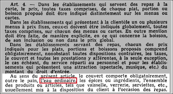 Arrêté de 1967 - extrait du journal officiel