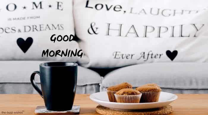 good morning with breakfast muffins coffee table