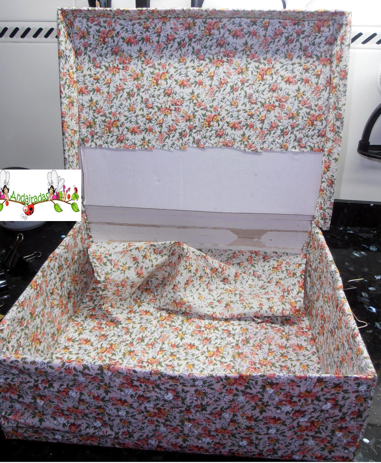 Andairadas mi costurero con una caja de zapatos - Forrar cajas de carton con telas ...