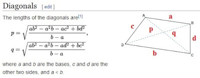 Diagonals of trapezoid. Mathematics For Blondes.