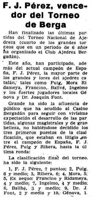 IV Torneo de Ajedrez de Berga 1954 en un recorte del Mundo Deportivo del 22 de agosto de 1954