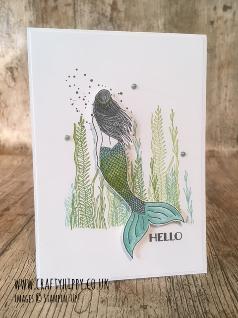 Handmade Mermaid Card in shades of light blue and green made by www.craftyhippy.co.uk using Coastal Cabana Ink and the Magical Mermaid stamp set by Stampin' Up!