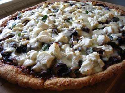 Mushroom, Ricotta and Asiago Cheese Pizza