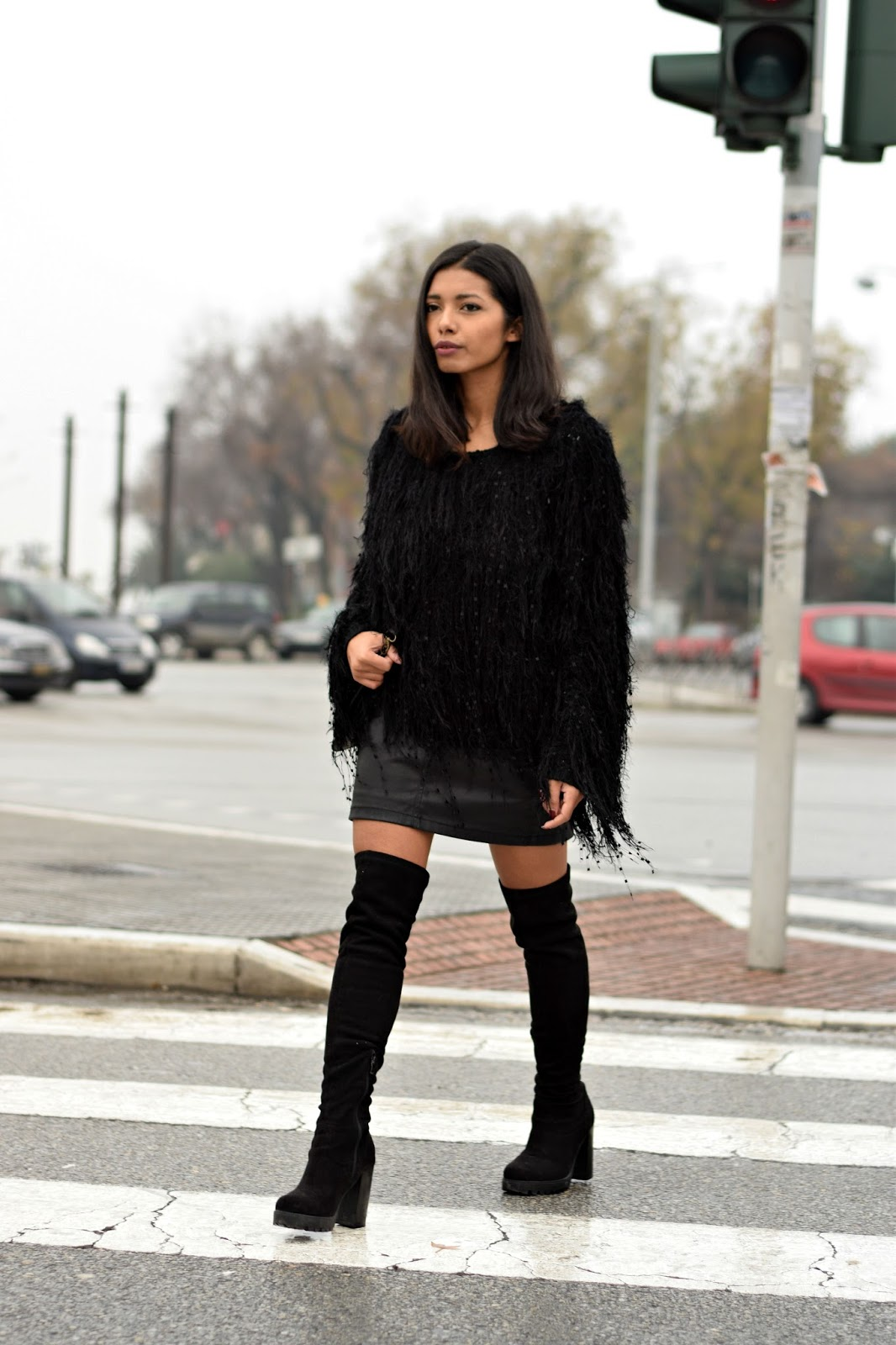 how to style fuzzy sweaters