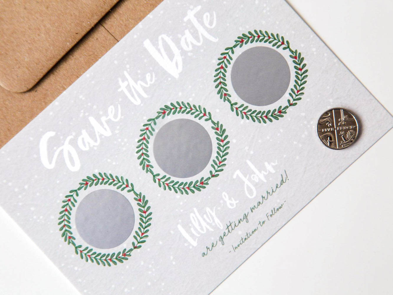 Scratch Off Save the Date Festive Wreath Winter Wedding