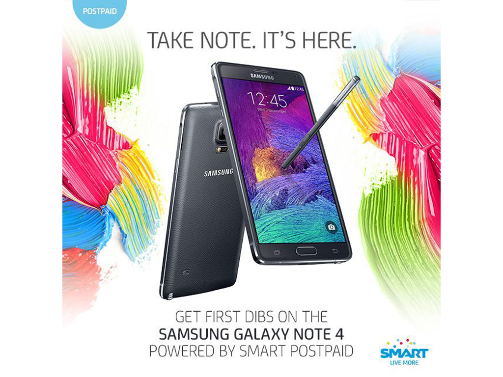 Samsung Galaxy Note 4 is Now Available for Pre-Order via Smart Postpaid Plan