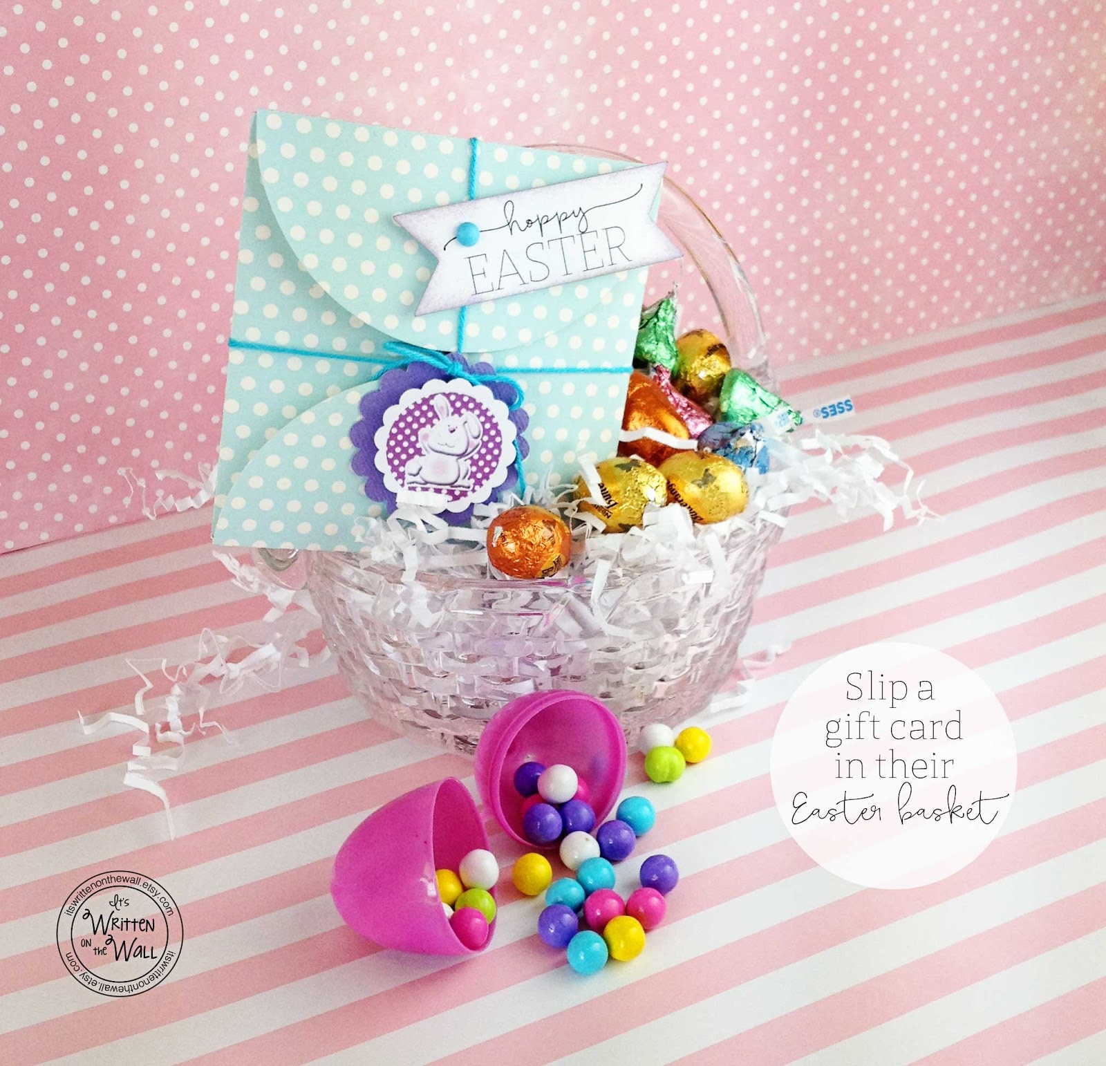 Its written on the wall wrap up a gift card for easter baskets wrap up a gift card for easter baskets in these cute gift card holders boys girls negle Gallery