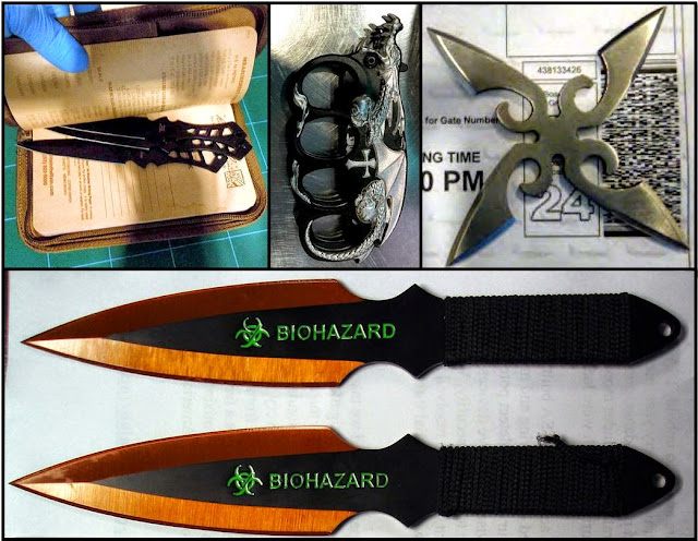 Daggers in zip-up folder (TUS), Knuckle Knife (MCO), Throwing Star (DAL), Throwing Knives (ORD)