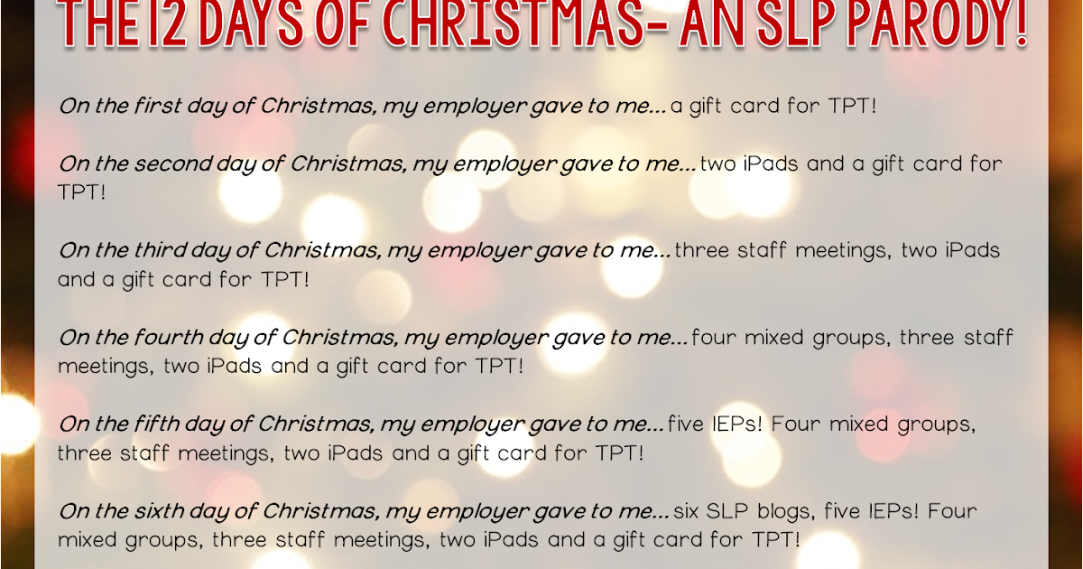 12 Days Of Christmas Parody