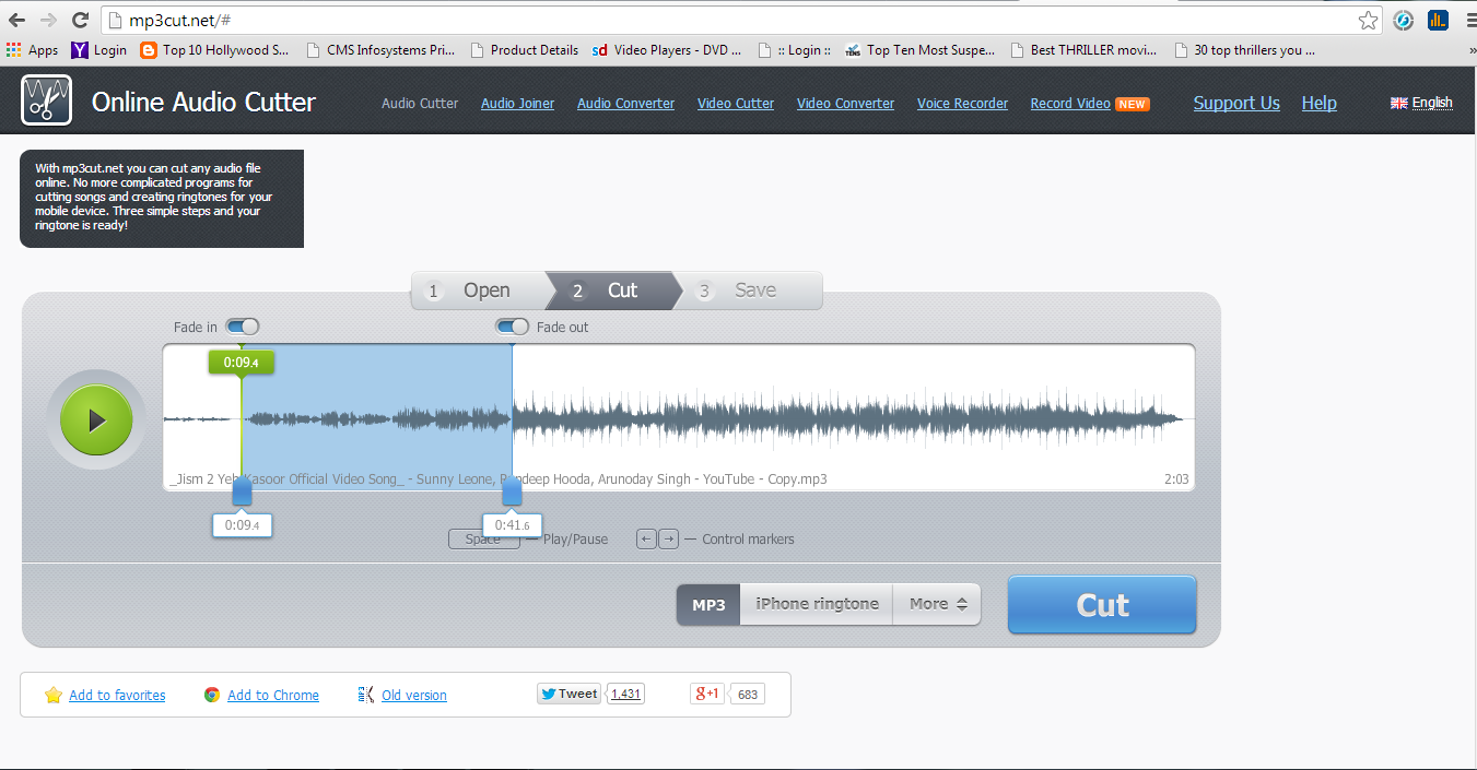Online Free MP3 Cutter - Cut your audio files quick and easily   Ashu
