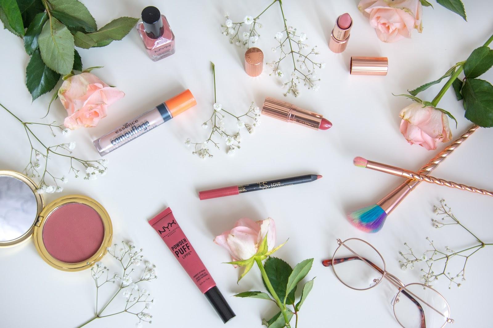 essence camouflage concealer; NYX Nail Polish; Makeup Revolution Renaissance Lipstick; Primark Decorative Glasses; Lahaye Unicorn Brushes; Primark Lipliner; NYX Powder Puff Lip Lipcream; Primark Blush
