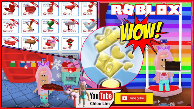 Roblox MeepCity Gameplay! Getting some VALENTINE Furniture and that 🏆 Gift 10 Items Trophy!