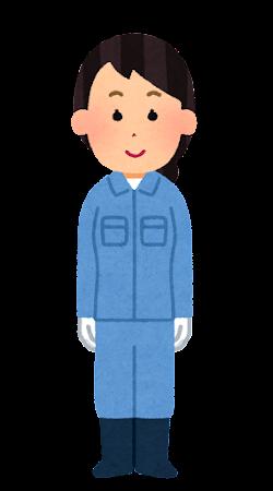 手袋を付けた作業員のイラスト(女性)