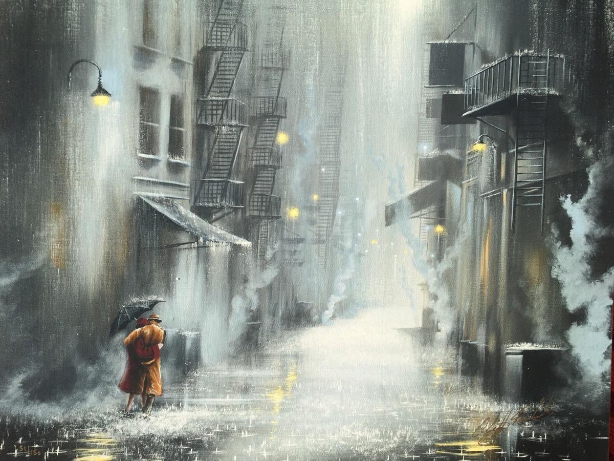 06-Street-Light-Stroll-Jeff-Rowland-Paintings-of-Romantic-Scenes-in-the-Rain-www-designstack-co