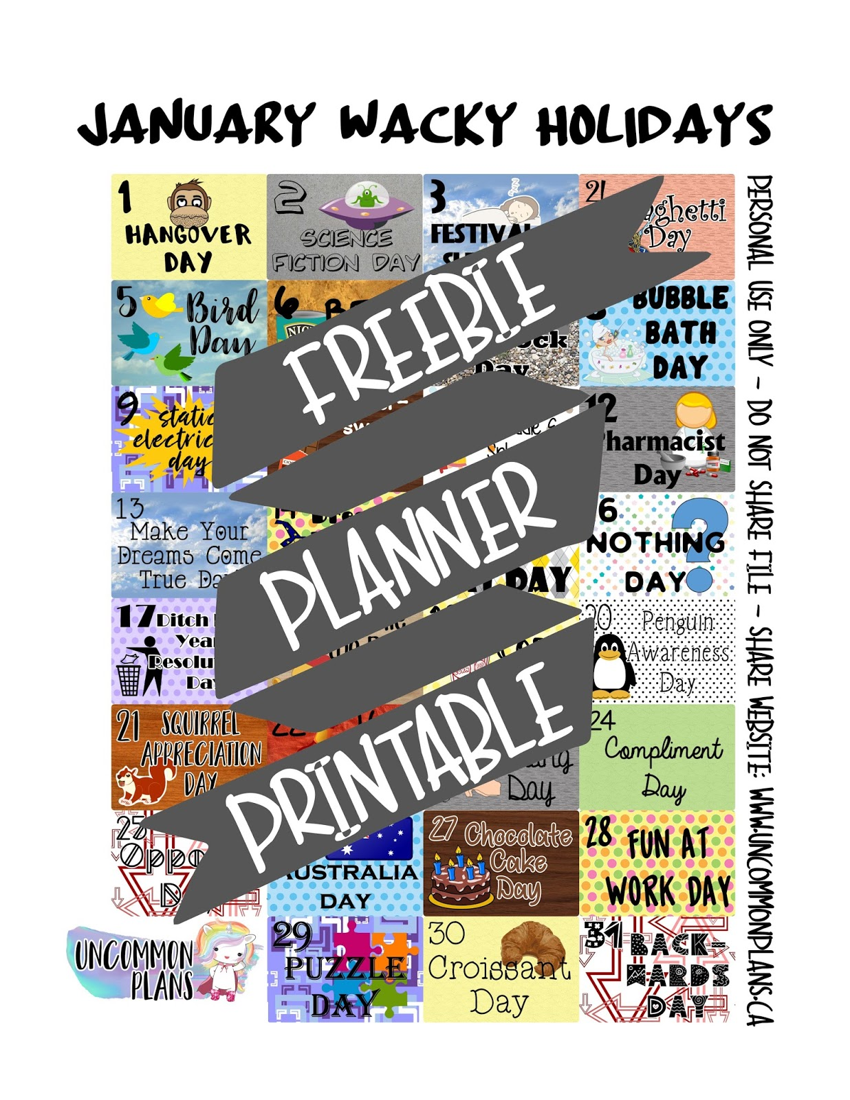Uncommon Plans Free Planner Printable January Wacky Amp Fun Holidays
