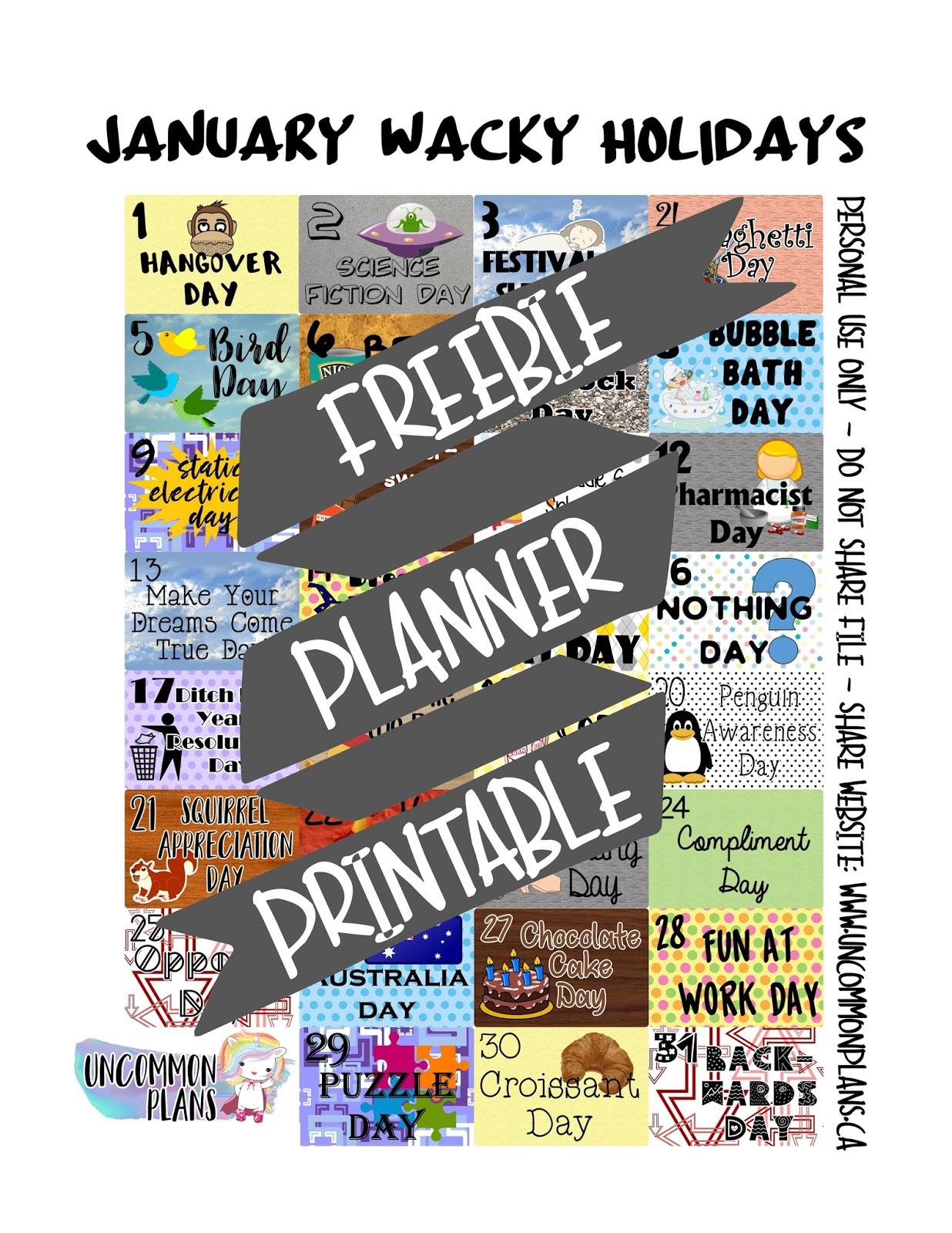 Uncommon Plans Free Planner Printable January Wacky Amp Fun Holidays