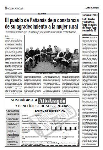El pueblo de Fañanás deja constancia de su agradecimiento a la mujer rural