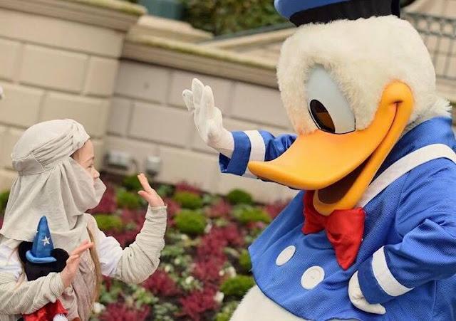 Girl dressed as Rey meeting Donald Duck at Disney