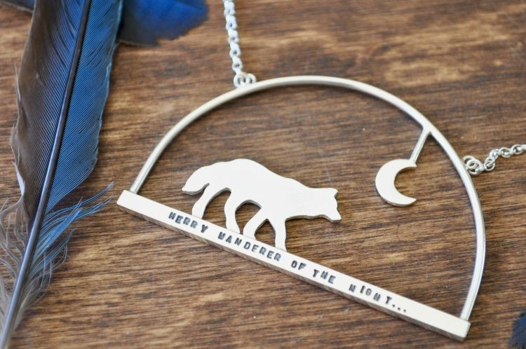 Silver Wolf and Moon Silhouette Pendant by The Silver Shed
