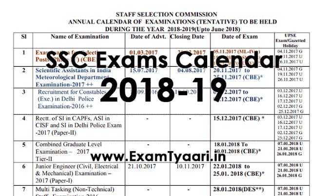 SSC CGL, CHSL Exams Calendar 2018-19 Out [PDF Download] - Exam Tyaari