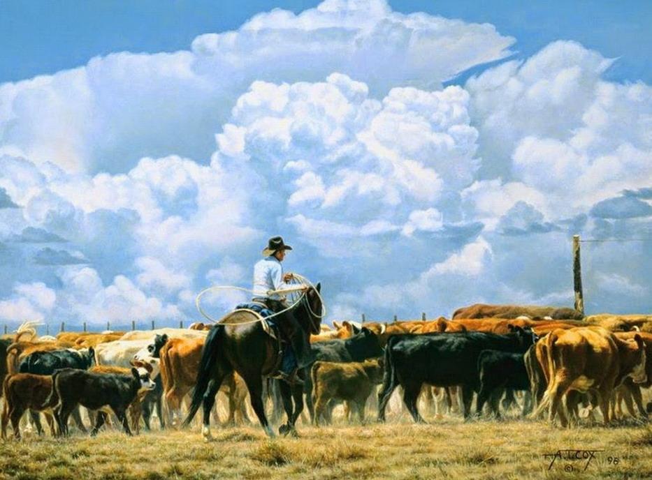 Pintura moderna y fotograf a art stica vaqueros montados - Cuadros de vacas ...
