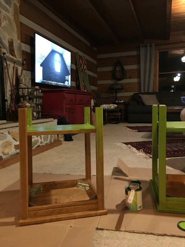 Bedside Table Refinishing Before, Benjamin Moore Iguana Green