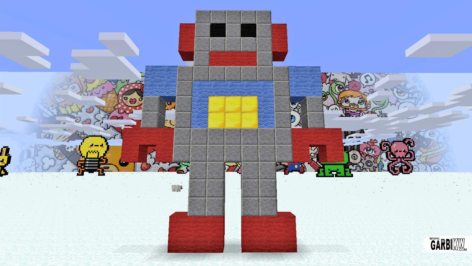 Minecraft Pixel Art   How To Make A Robot Minecraft Pixel Art   Cómo Hacer  Un Robot Minecraft Pixel Art   Comment Faire Un Robot