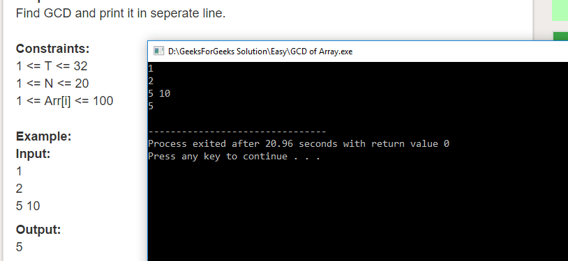 "Geeksforgeeks Solution For "" GCD of Array """