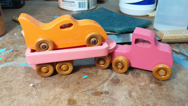 2017-05-11 04.22.14 - Wooden Toy - Traailer - Truck - Pink - Bat Car- Orange - Car Hauler (1)