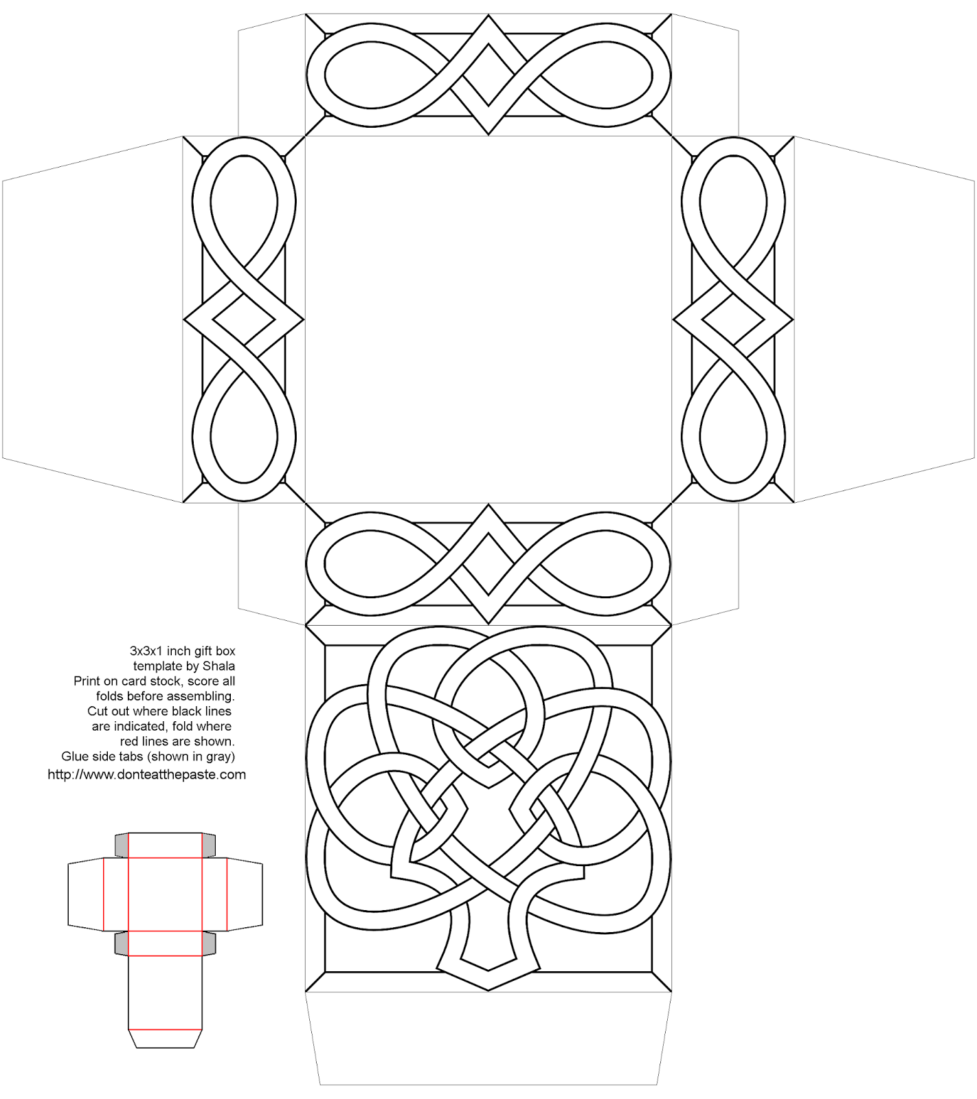 Knotwork shamrock box to print, color and make- full color version also available.