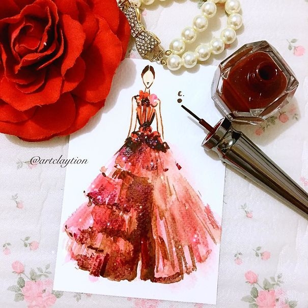 08-Chan-Clayrene-Artclaytion-Haute-Couture-Paintings-using-Nail-Polish-and-Brushes-www-designstack-co
