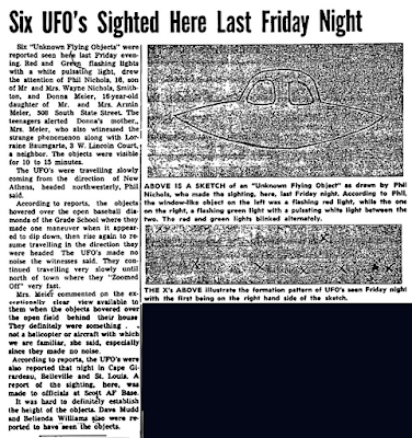 Six UFOs Sighted Here Last Friday Night – Freeburg Tribune (Freeburg Illinois)  1-26-1968