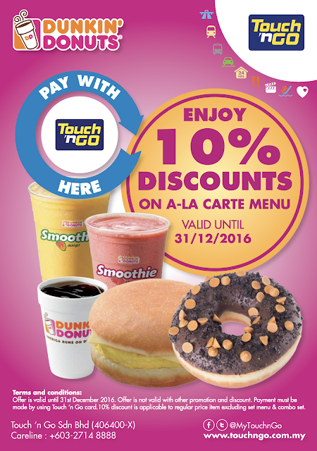 Dunkin Donuts Malaysia Discount Promo Touch n Go Card Payment