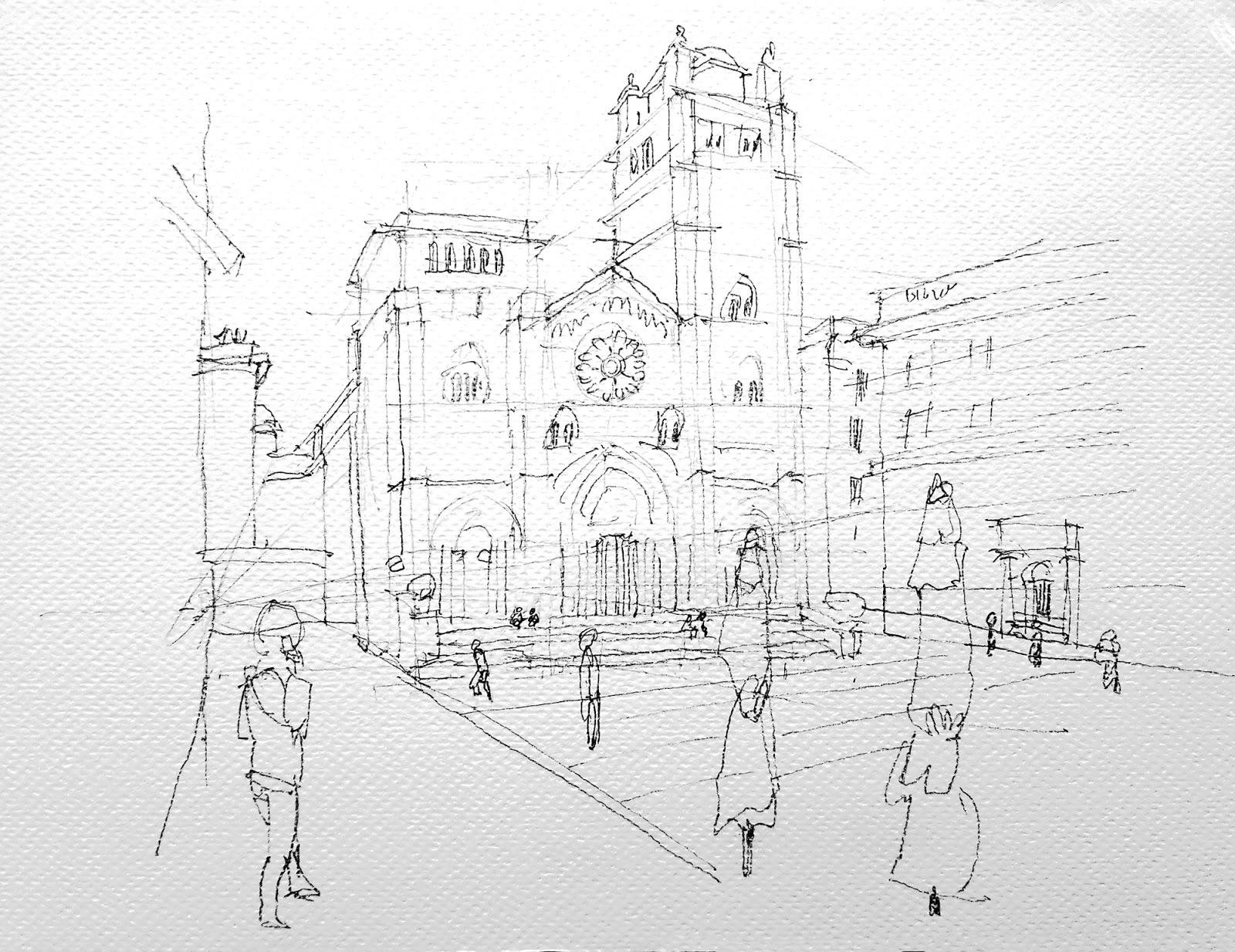 Disegno a matita di piazza San Lorenzo e cattedrale.