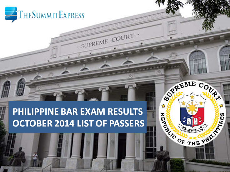 October 2014 Philippine Bar Exam Results - List of passers, topnotchers