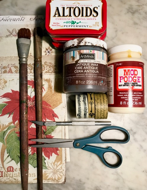 Supplies for making a holiday assemblage