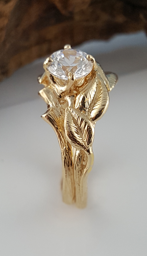 Dawn Vertrees Raw Uncut Rough Engagement Wedding Rings Gold