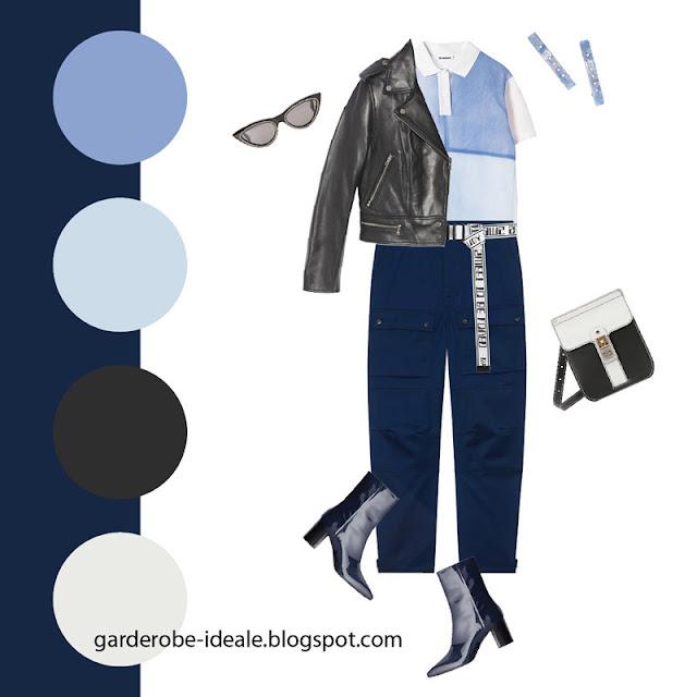 Синие брюки карго с рубашкой поло и косухой
