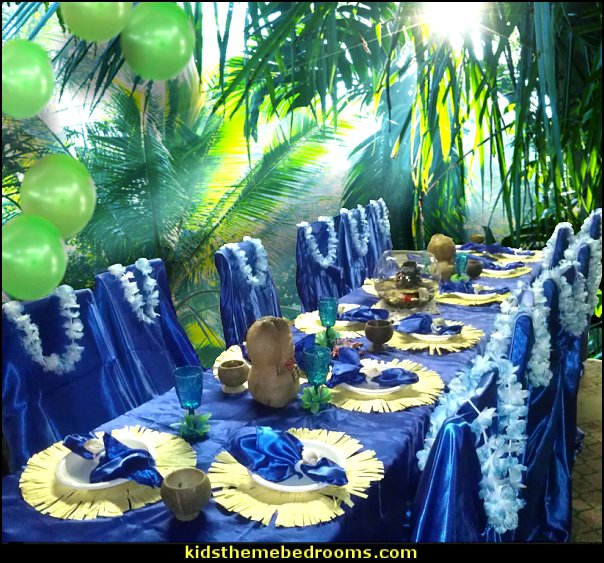 tropical luau party beach party table decorations  Tropical party decorations - tropical party ideas - ALOHA Hawaii Luau Party Decorations - Luau Hawaiian Grass Table Skirt raffia Decorations - Hula Hibiscus Tropical Birthday Summer Pool Party Supplies - tiki party pineapple party decorations - beach party - Birthday party  photo backdrop - tropical themed cake decorations - beach tiki themed table decorations -  party props - summer party
