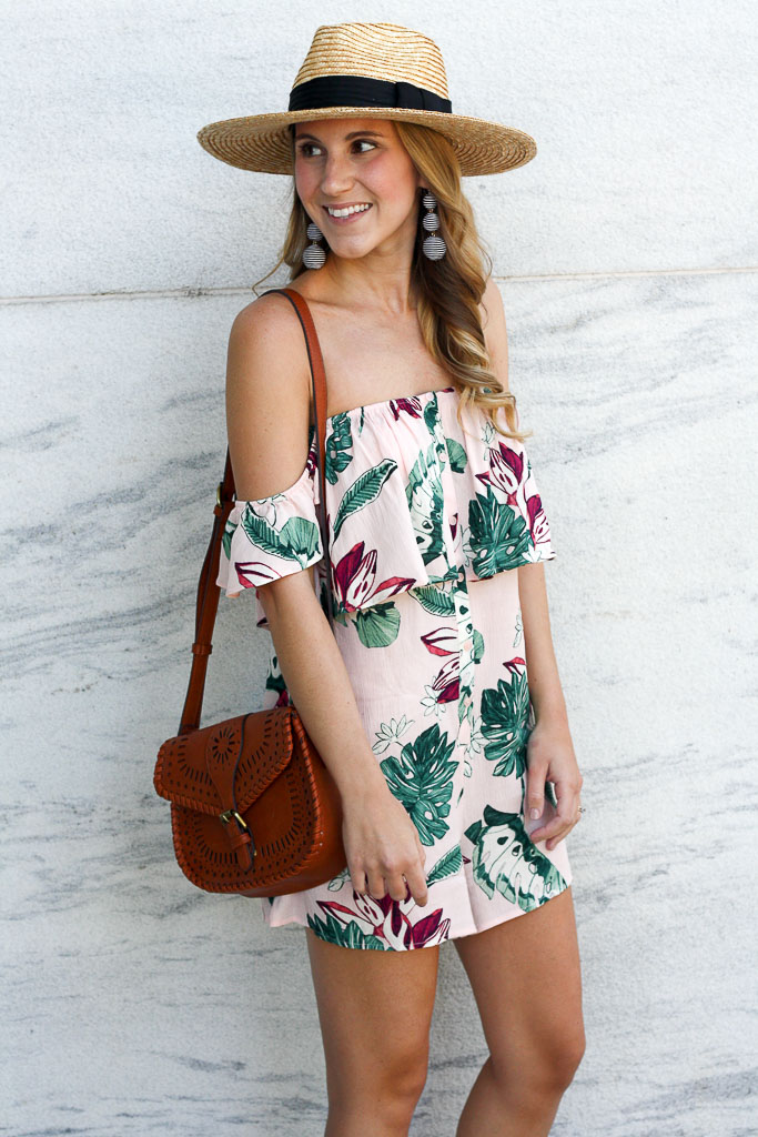 Off the shoulder palm print romper
