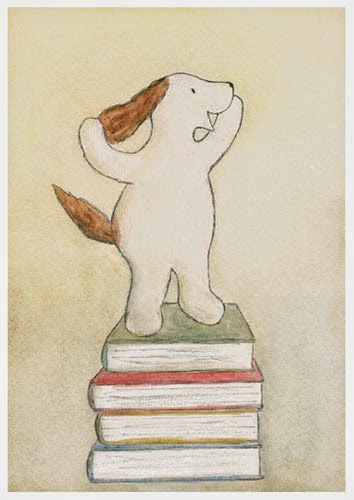 Postcard illustration of Haukku spaniel at top of the books after long coursework