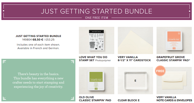 This image shows the products you can get in the Share What You Love 'Just Getting Started' Bundle by Stampin' Up!